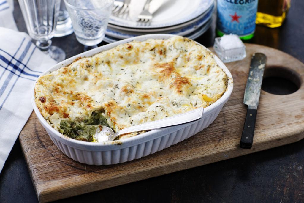Recept från Zeta. Vegetarisk lasagne med pesto och nötter_li