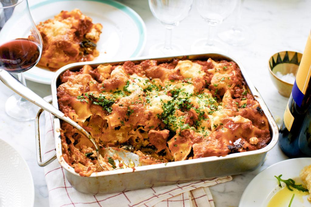 vegetarisk lasagne spenat tomatsås