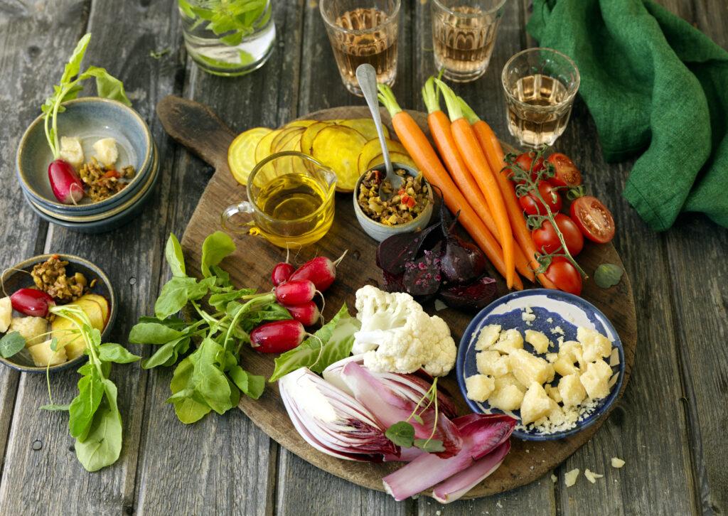 Sommargrönsaker med olivolja