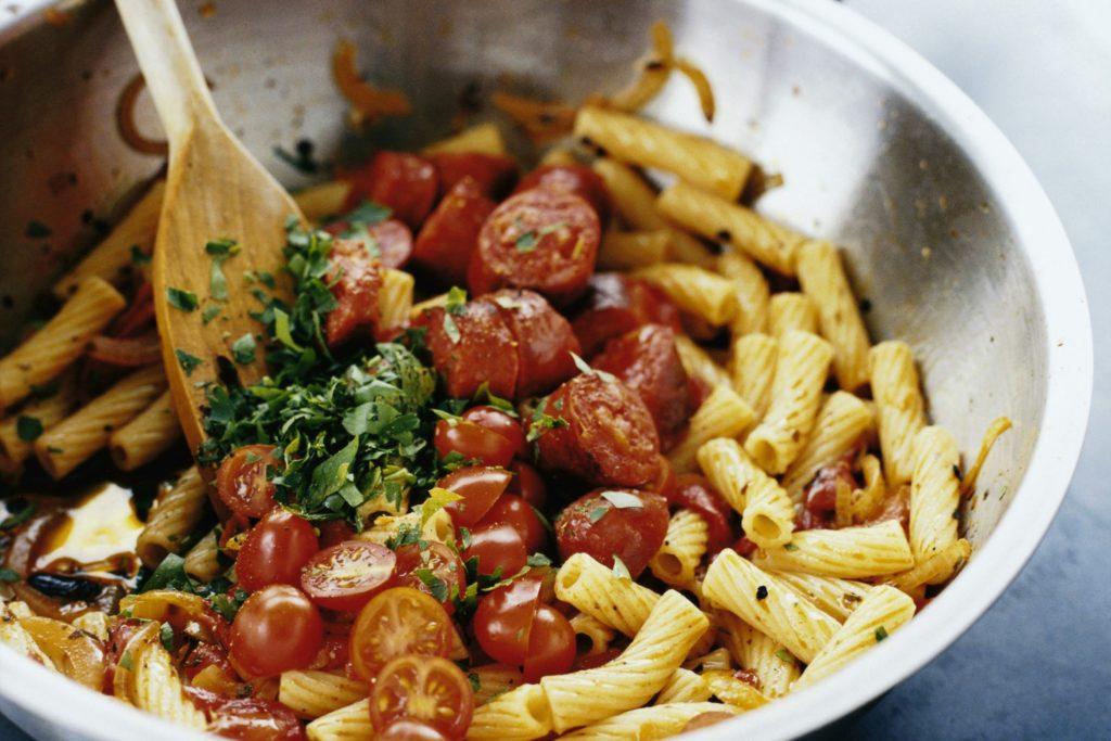 Recept från Zeta. Pasta_med_chorizo_och_grillad_paprika_st
