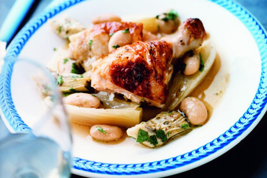 Recept från Zeta. stekt_kyckling_med_kokt_fankal_bonor_och_kronartskocka