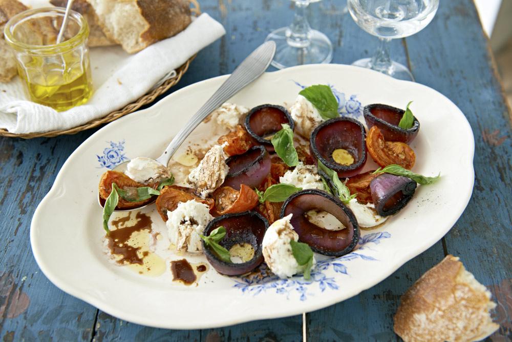 Recept från Zeta. Sallad_caprese_med_bakade_tomater