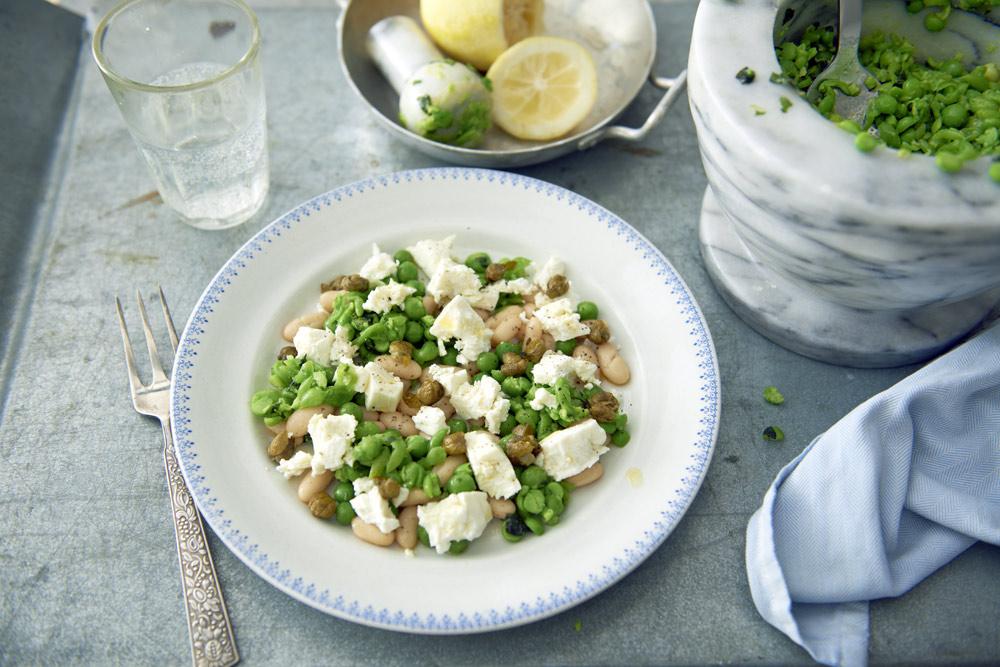 Recept från Zeta: Canellini med fetaost och ärtröra