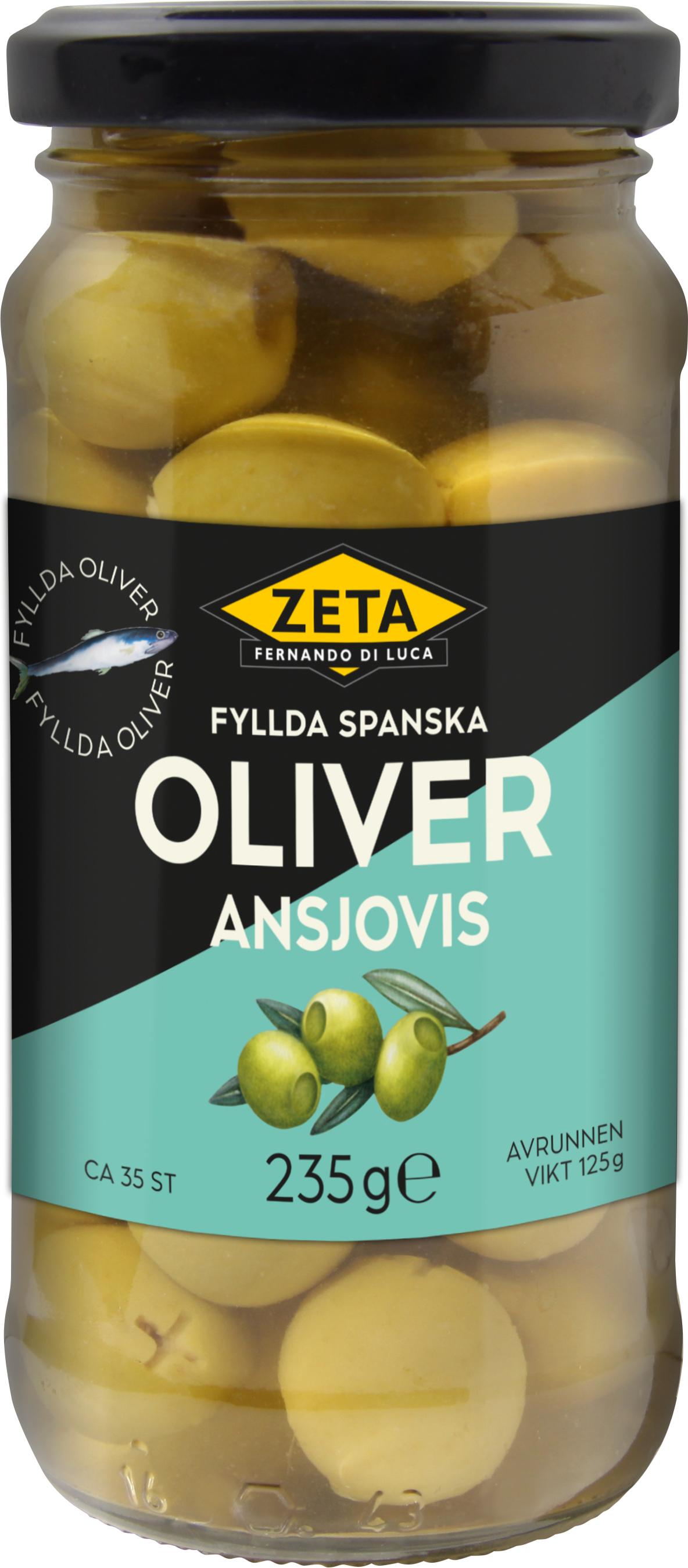 Munsbit av getost sardell och oliv