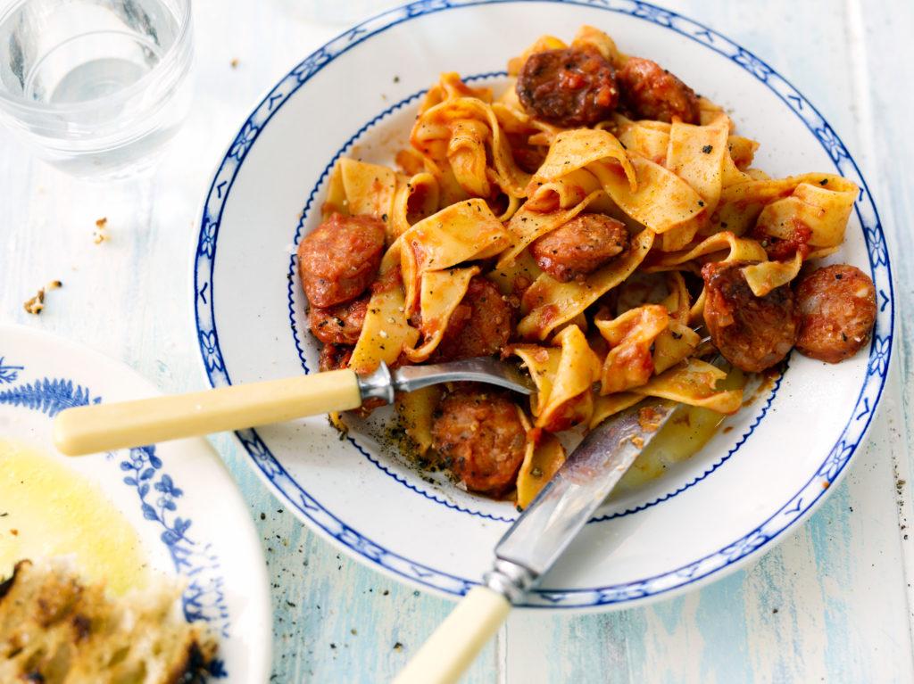 Recept från Zeta. Pappardelle med chorizo