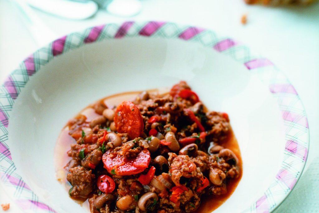 Recept från Zeta. chili_med-black_eye_bonor_med_chorizo