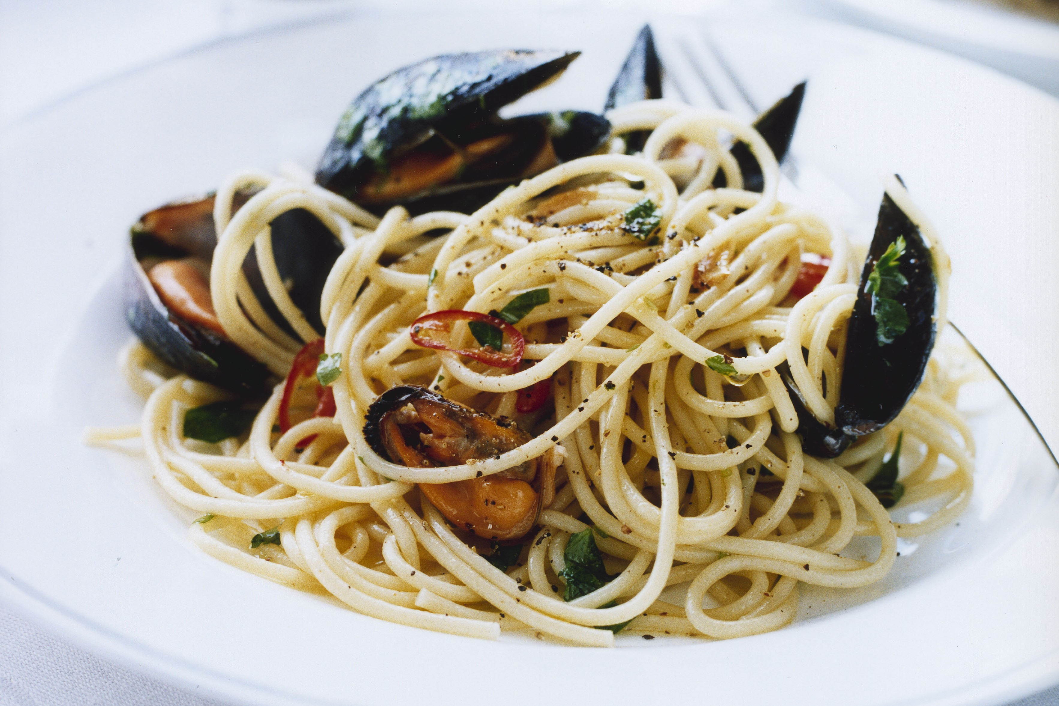 Bandpasta med farska musslor
